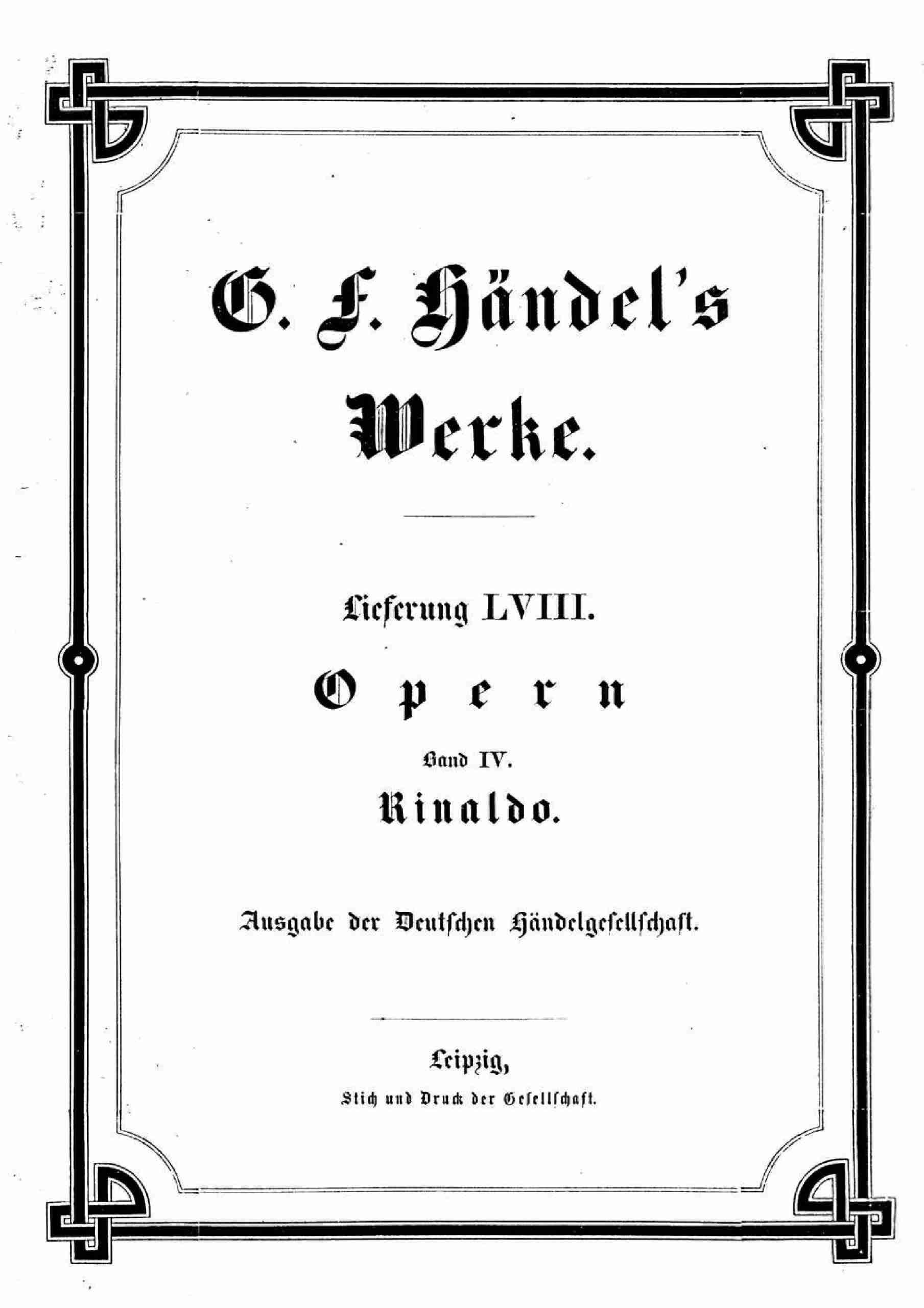 Handel, George Frideric - Rinaldo, HWV 7a (score)