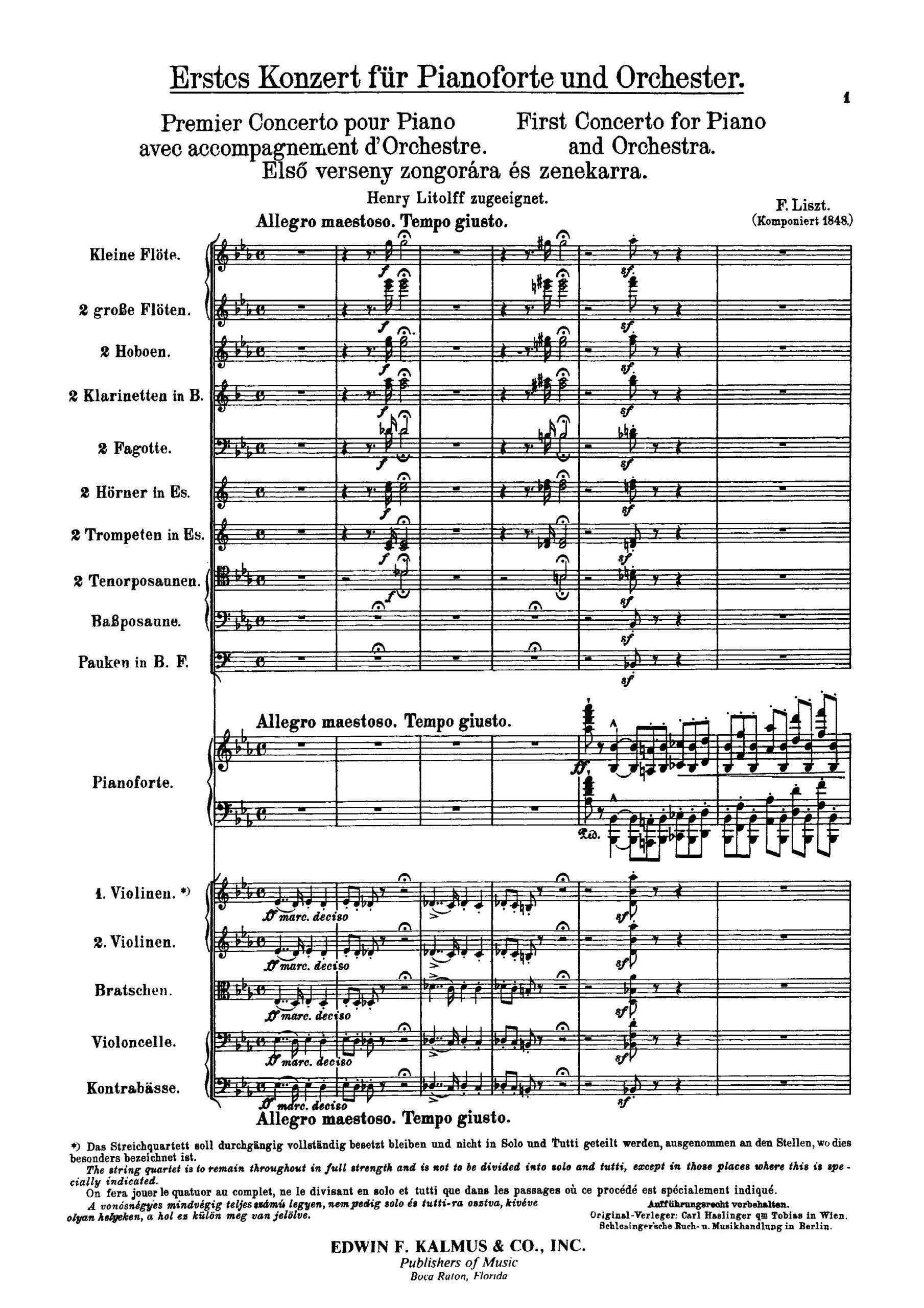 Liszt, Franz - Piano Concerto No.1, S.124 (score)