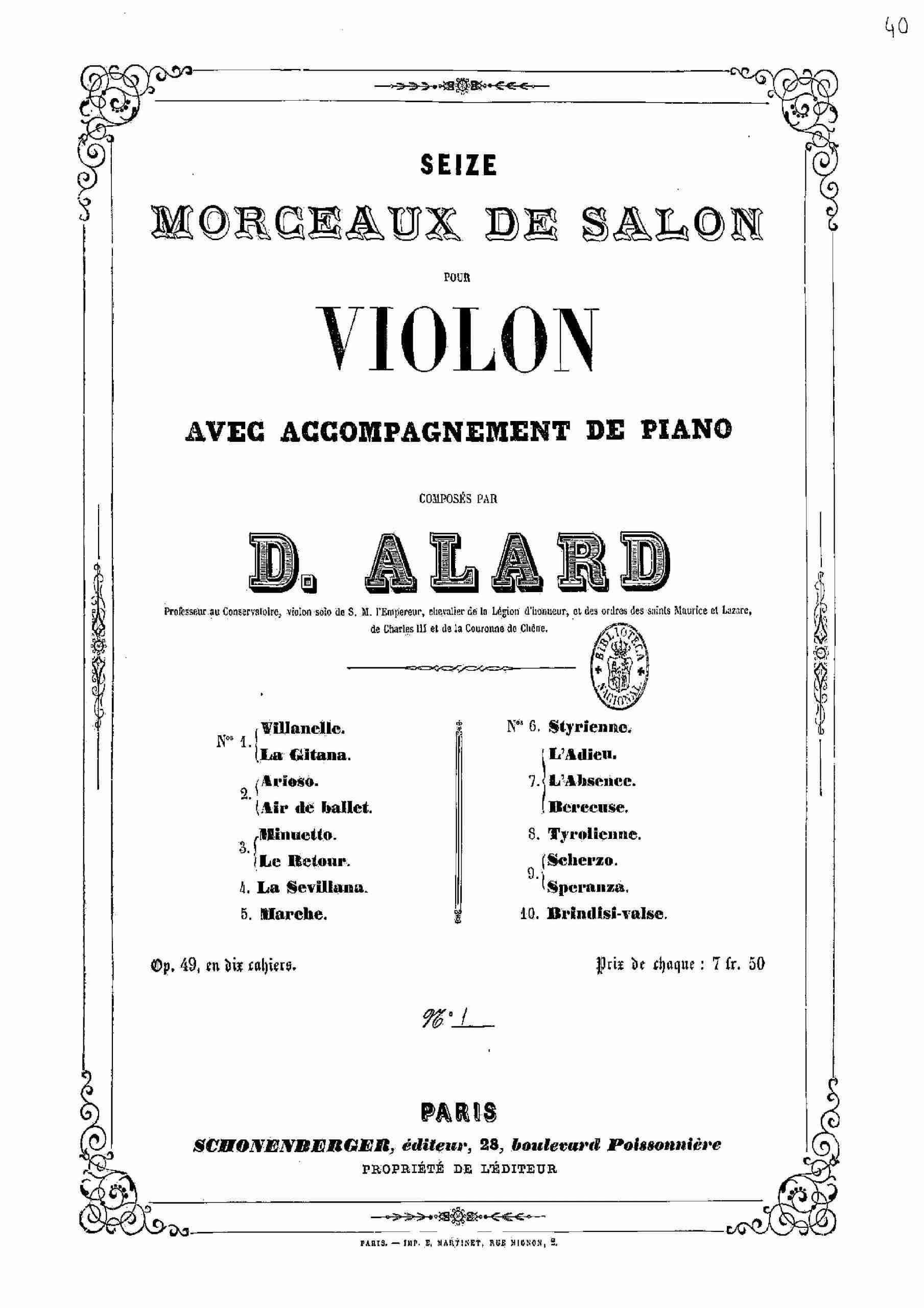 Alard, Jean Delphin - 16 Morceaux de salon, Op.49 (pno)