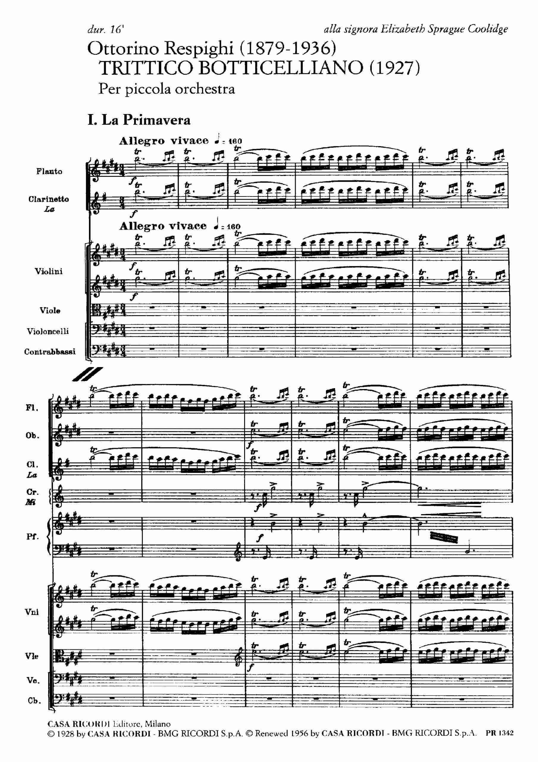 Respighi, Ottorino - Trittico Botticelliano (score)