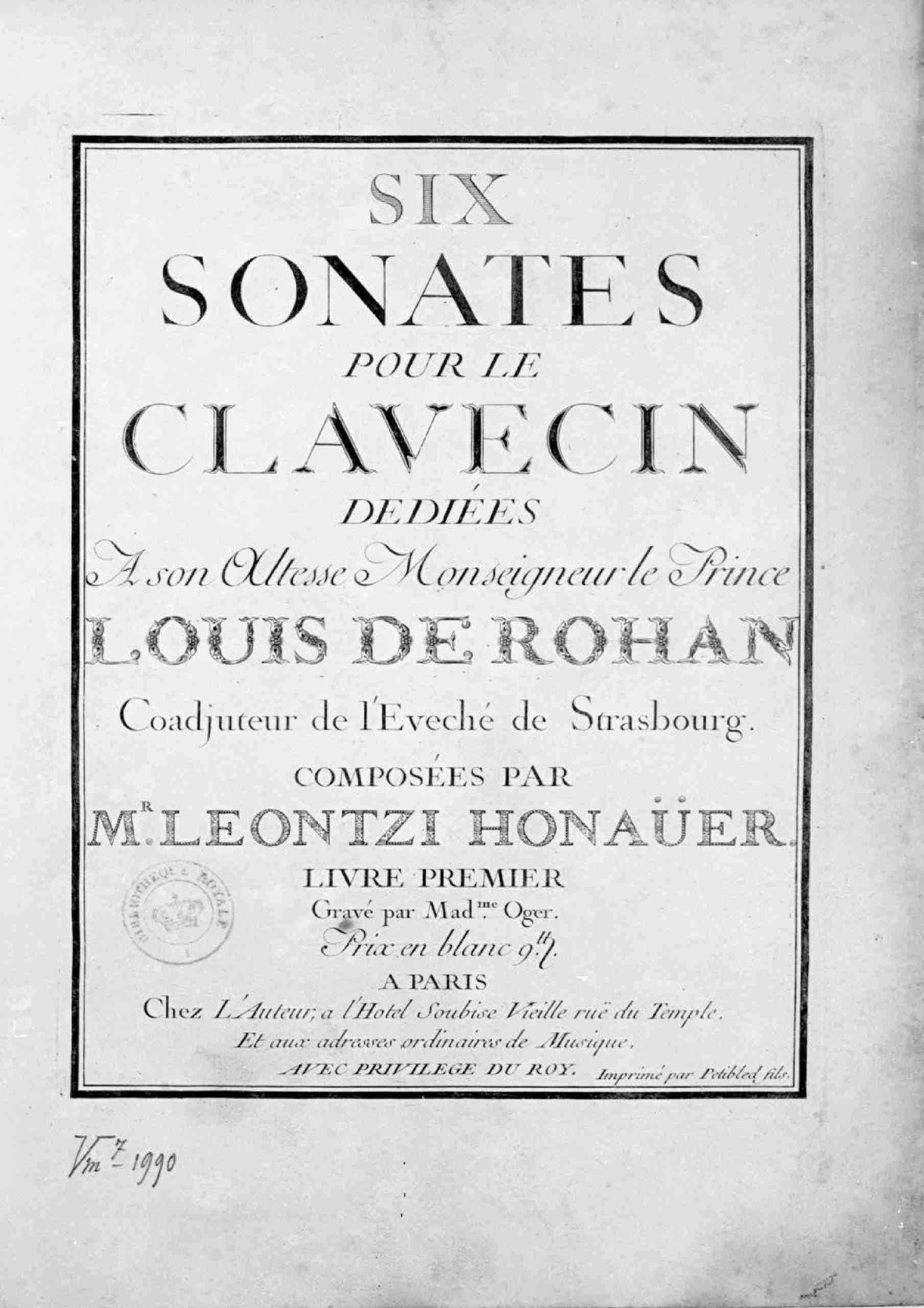 Honauer, Leontzi - 6 Harpsichord Sonatas, Op.1