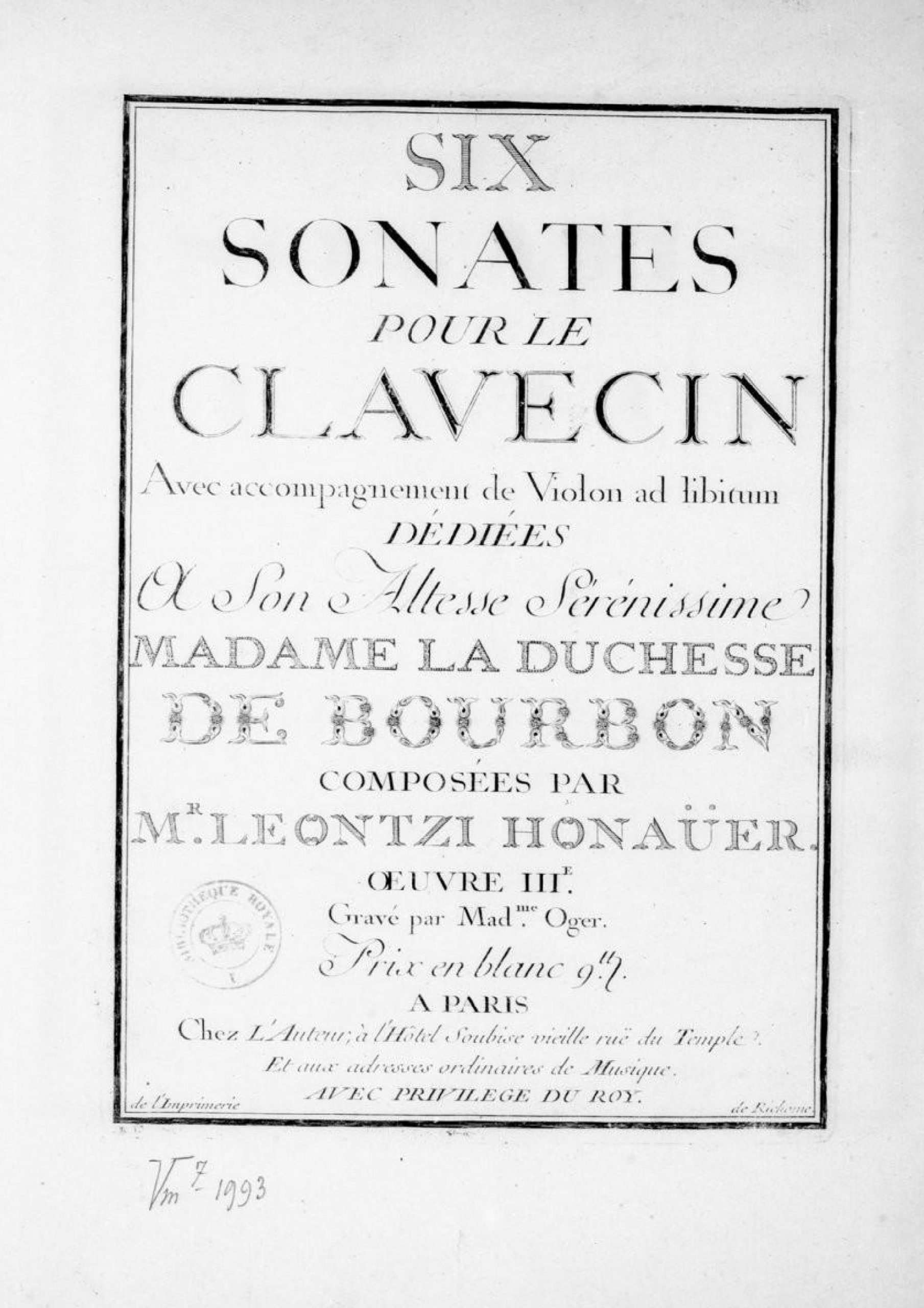 Honauer, Leontzi - 6 Sonatas, Op.3 (harpsichord)
