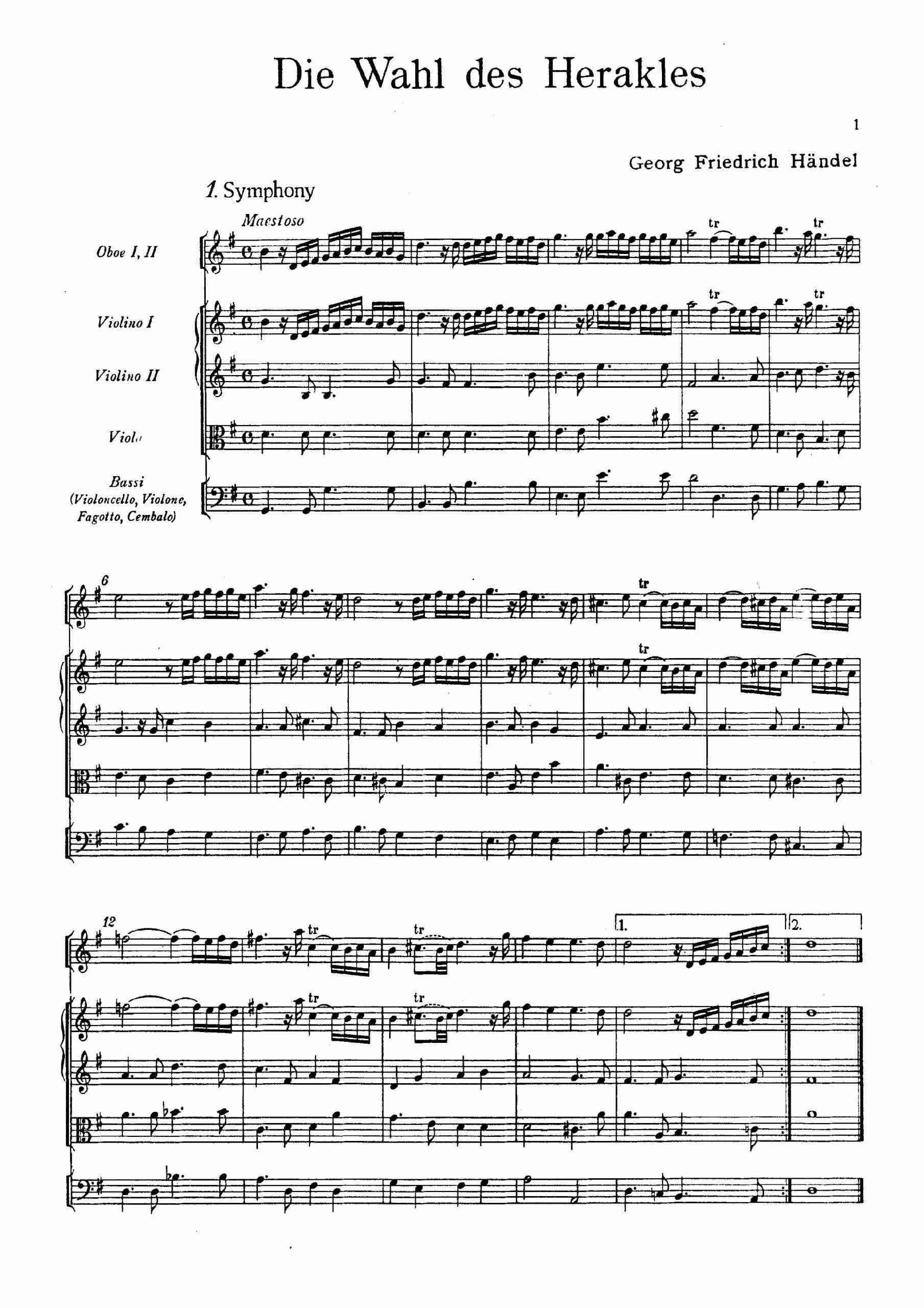 Handel, George Frideric - The Choice of Hercules, HWV 69 - score