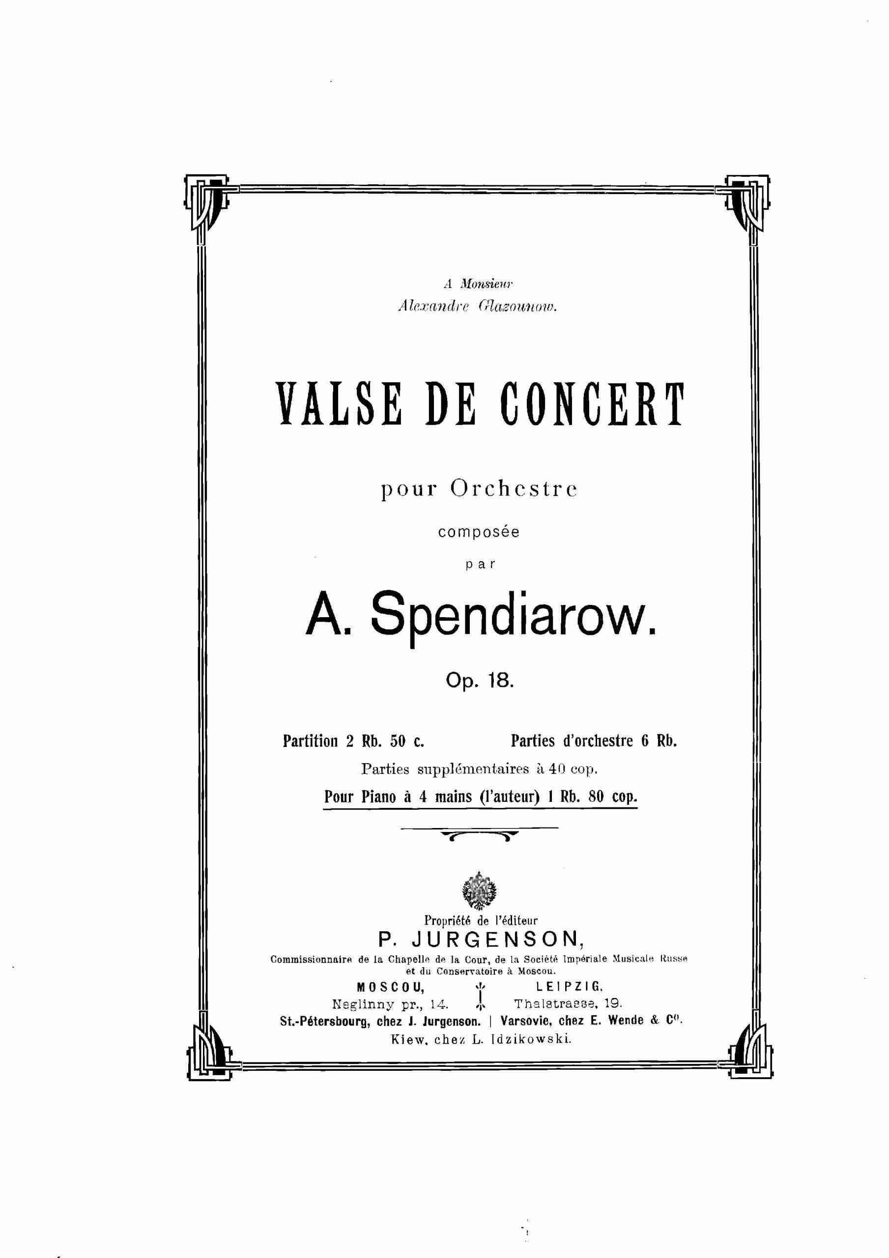 Spendiarov, Aleksandr - Concert Waltz, Op.18