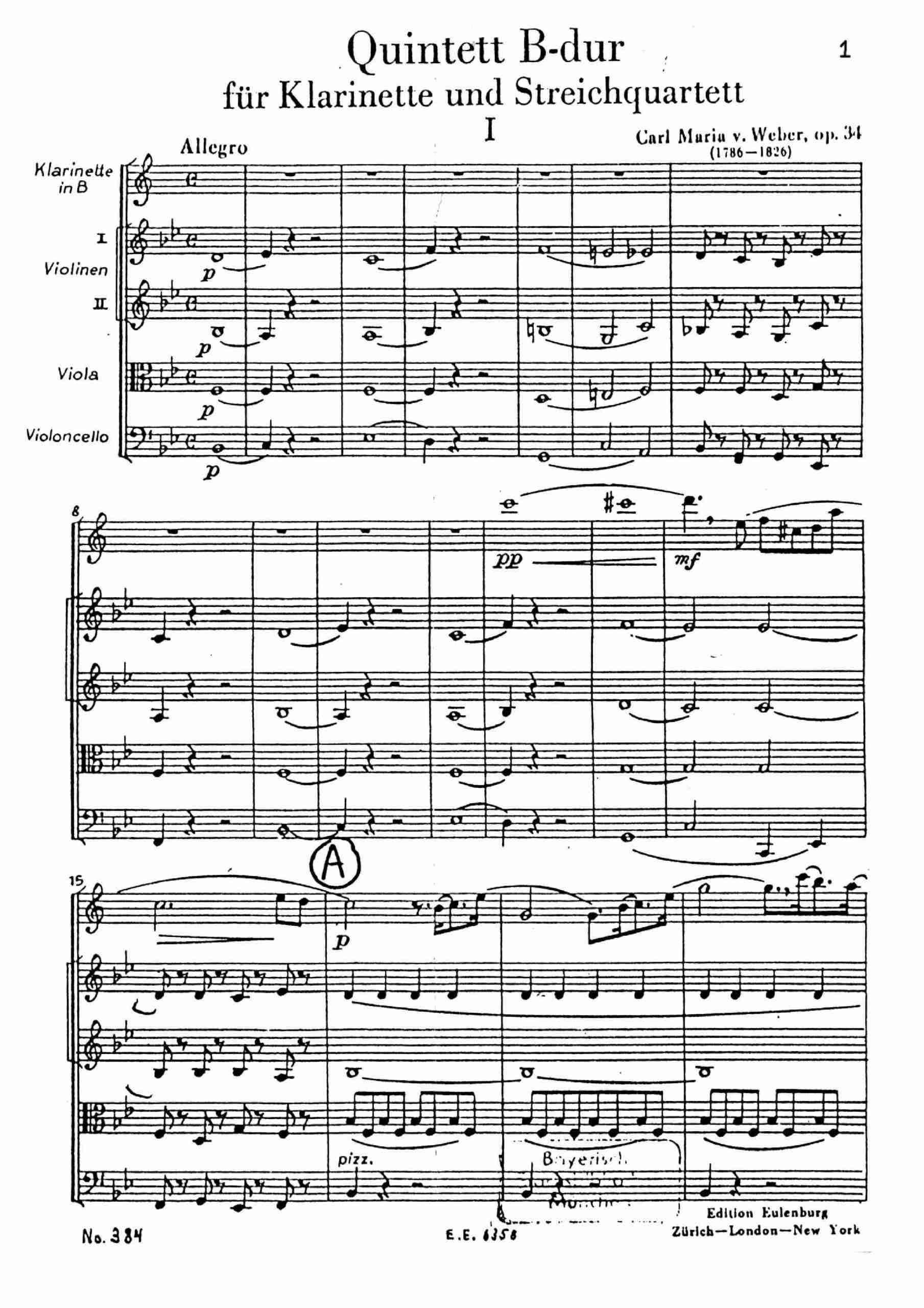 Weber, Carl Maria von - Clarinet Quintet, Op.34 - Score