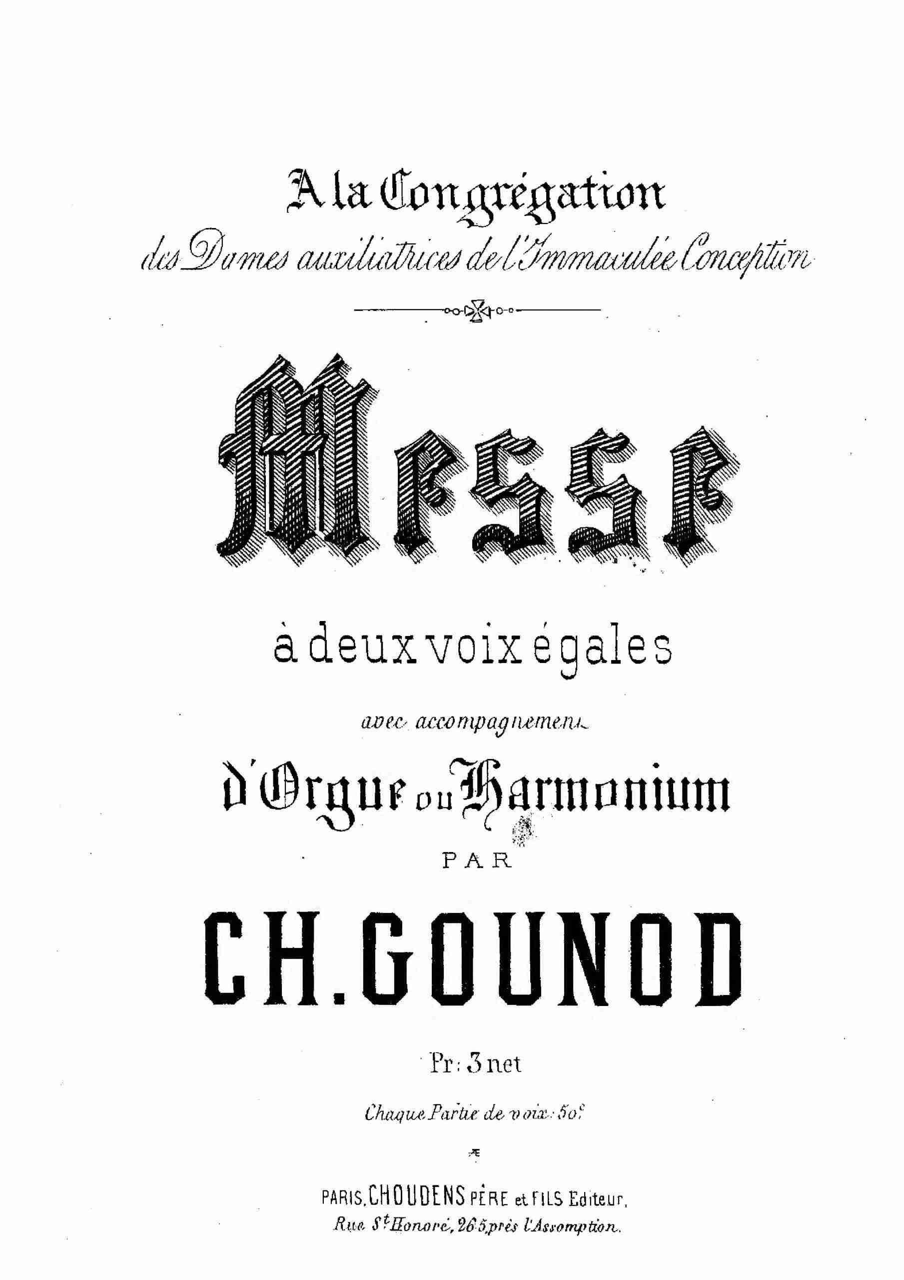 Gounod, Charles - Messe à deux voix égales