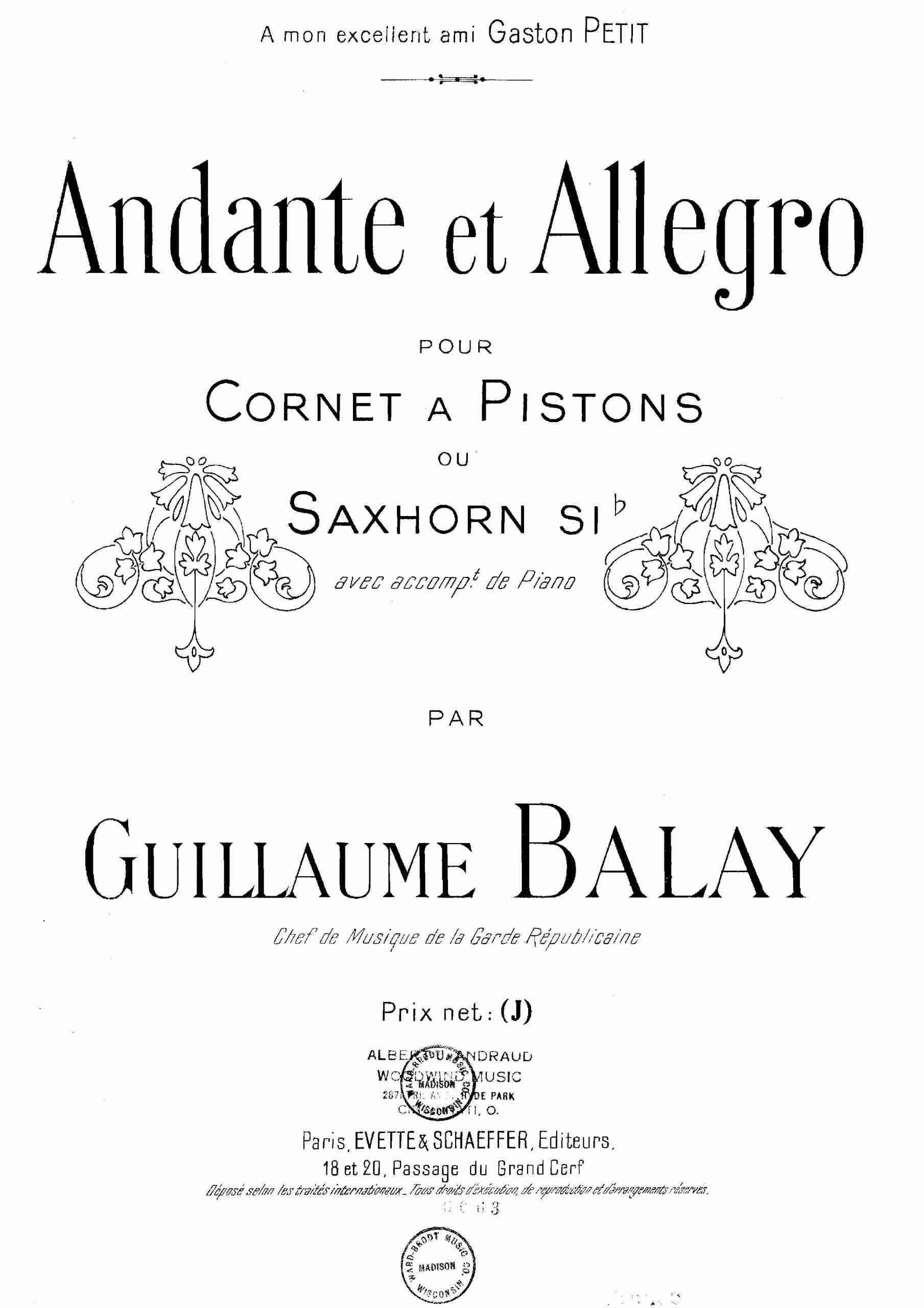 Balay, Guillaume - Andante et allegro (piano)