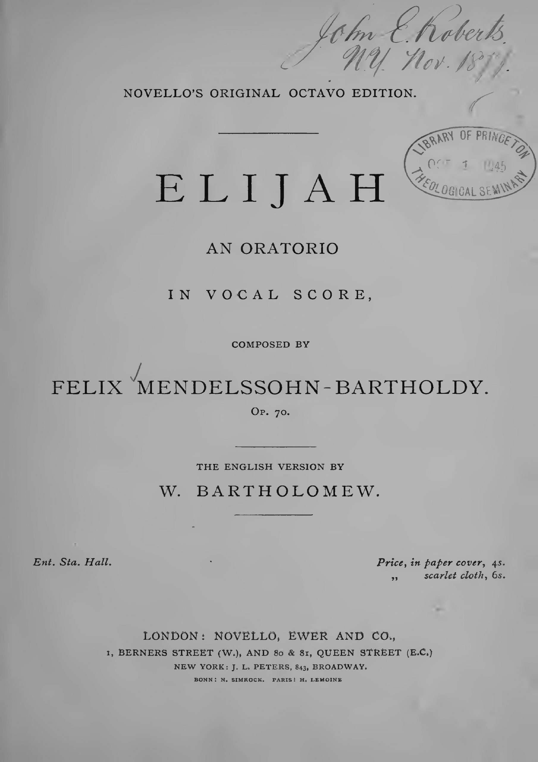 Mendelssohn, Felix - Elijah - vocal score