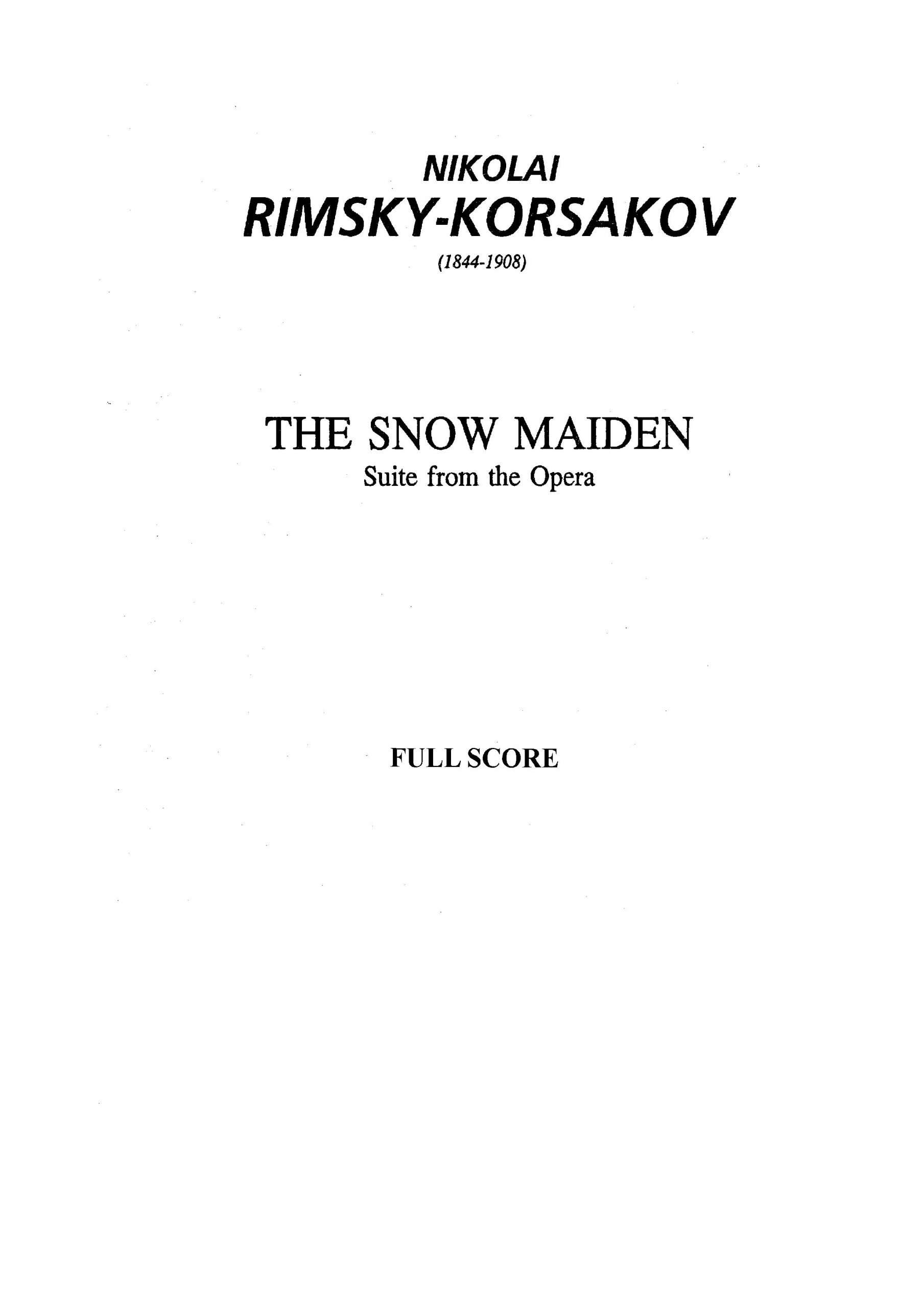 Rimsky-Korsakov, Nikolay - The Snow Maiden (suite) - Score